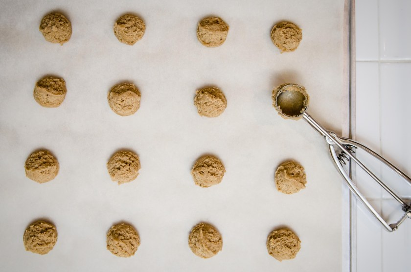 My favorite baking tool: a cookie scooper that makes perfectly rounded cookies by the tablespoon.