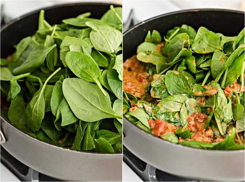 It looks like there's too much spinach, but it'll wilt down to almost nothing!