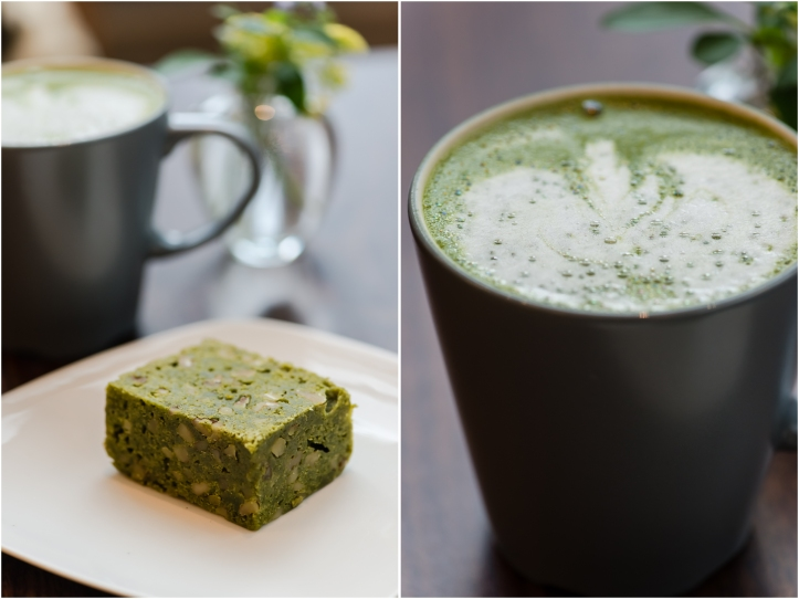 """Behind the Museum Café 1229 SW 10th Avenue Pictured:  Matcha Green Tea Latte and Matcha Brownie This sweet little cafe serves Japanese tea, drinks, and food. The latte was delicious and the matcha brownie was perfect--buttery, with just the right amount of sweetness, and filled with walnuts. There was no chocolate or cocoa in it so the name """"brownie"""" is a bit of a misnomer."""