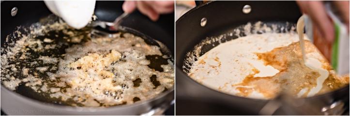 Adding garlic, then cream.