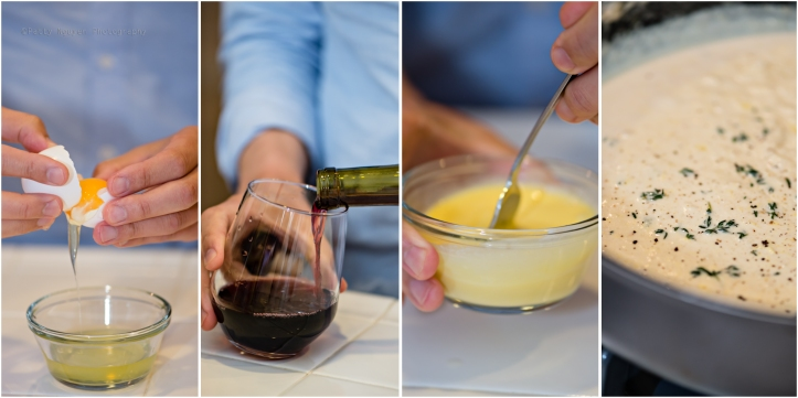 Separating the other yolk, taking a vino break, tempering the egg yolks, the finished sauce.
